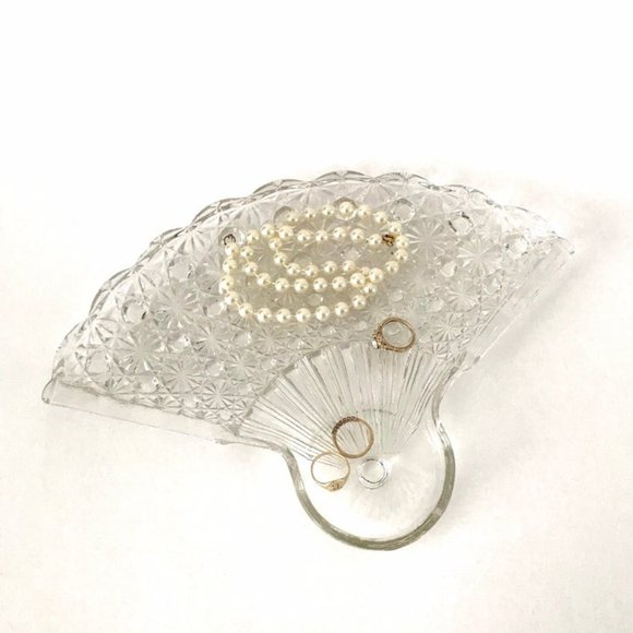 Vintage Clear Glass Fan Catch All Dish